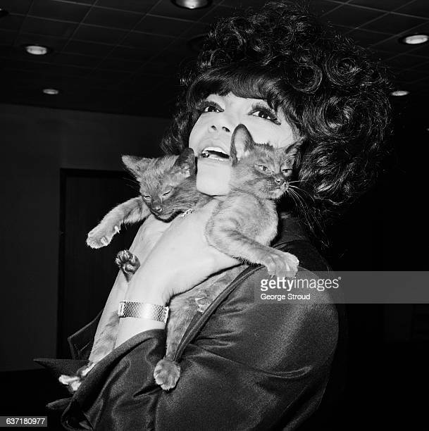 American actress and singer Eartha Kitt at London Airport with two kittens UK 2nd May 1971