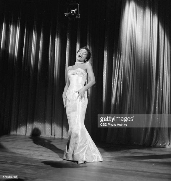 American actress and singer Eartha Kitt sings on 'The Ed Sullivan Show' October 7 1956