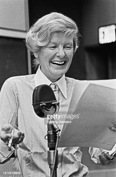 American actress and singer Elaine Stritch in a recording studio in the UK, 1st August 1973.