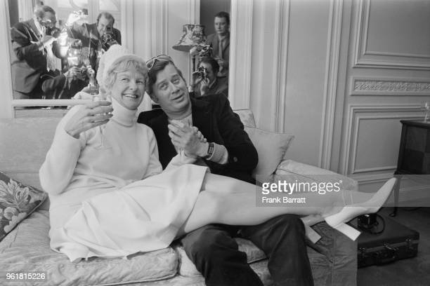 American actress and singer Elaine Stritch with her husband actor John Bay at their wedding reception at the Savoy Hotel in London 27th February 1973...