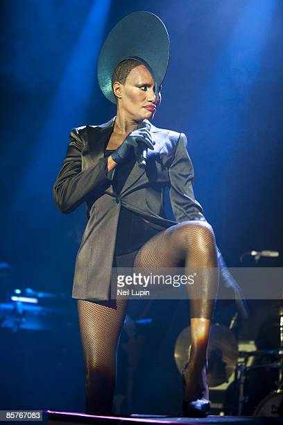American actress and singer Grace Jones performs on stage at the Roundhouse in Camden on January 28 2009 in London