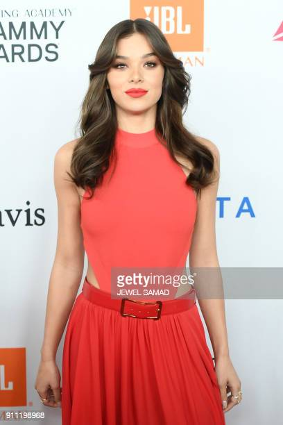 American actress and singer Hailee Steinfeld arrives for the traditionnal Clive Davis party on the eve of the 60th Annual Grammy Awards on January 28...