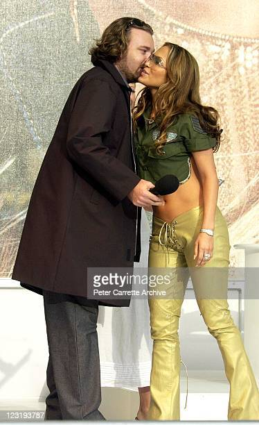American actress and singer Jennifer Lopez is greeted by radio personality Kyle Sandilands before her live performance at Darling Harbour on February...
