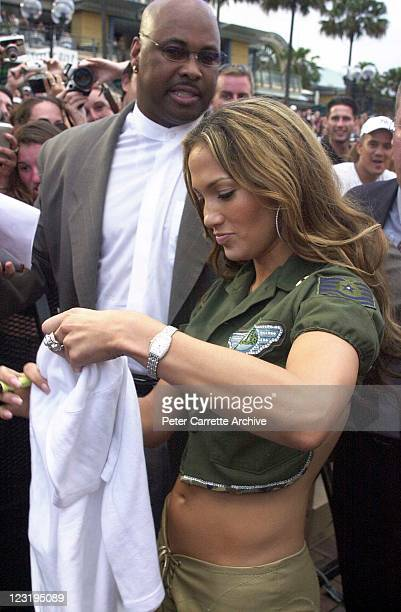 American actress and singer Jennifer Lopez meets her fans after a live performance at Darling Harbour on February 22 2001 in Sydney Australia Lopez...