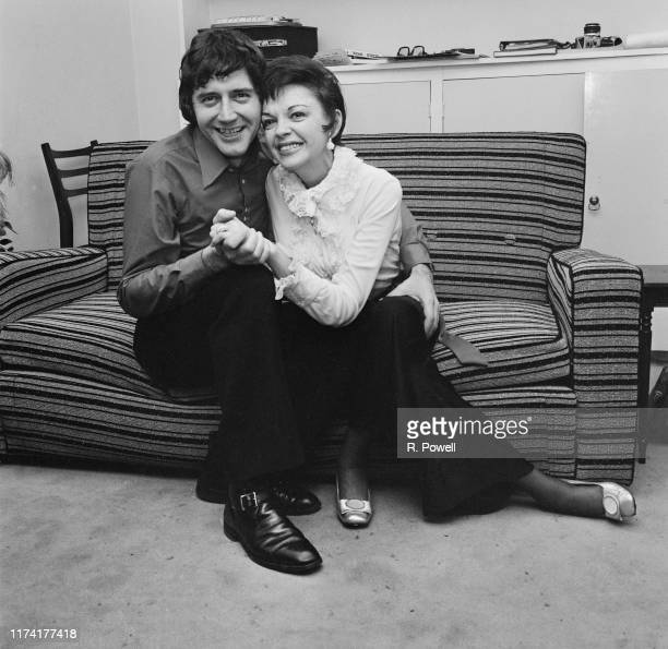 American actress and singer Judy Garland posed with her new 5th husband to be Mickey Deans at home on the morning of their wedding at Chelsea...