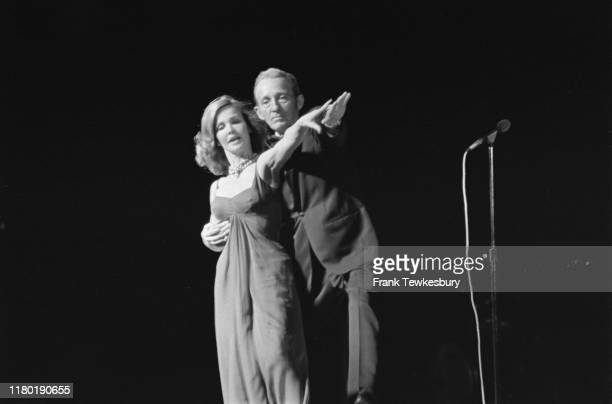 American actress and singer Kathryn Crosby performs on stage with her husband American singer comedian and actor Bing Crosby UK 22nd June 1976
