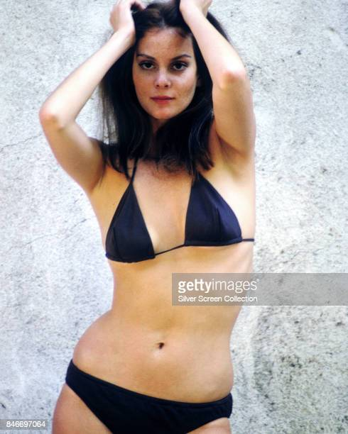 American actress and singer Lesley Ann Warren poses in a dark blue bikini circa 1965