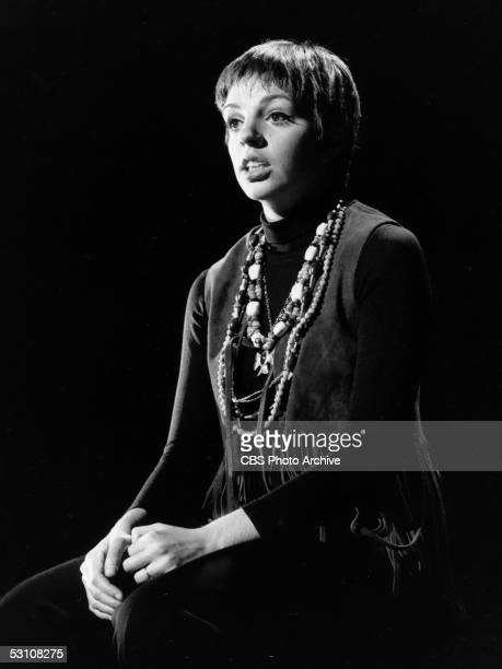 American actress and singer Liza Minnelli dressed in a fringed suede vest and beaded necklaces performs on 'The Ed Sullivan Show' Ed Sullivan Theatre...