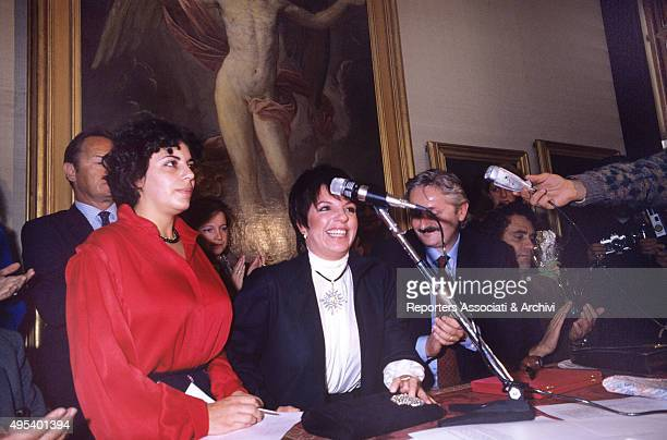 American actress and singer Liza Minnelli going to the Capitoline Hill to get the Città  di Roma Award for her father and Italian American director...