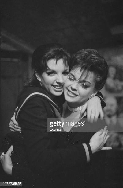American actress and singer Liza Minnelli with her mother American actress and singer Judy Garland backstage after she opened in 'Flora the Red...
