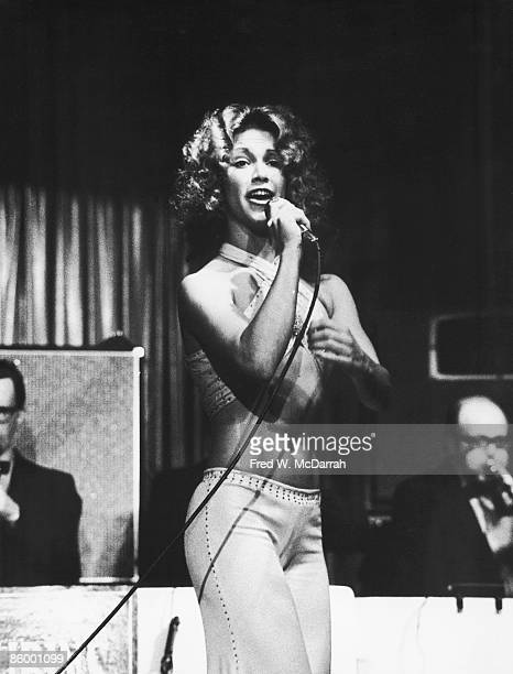 American actress and singer Marilyn Chambers sings on stage New York New York March 7 1974