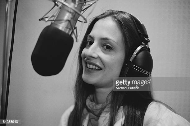 American actress and singer Patti LuPone in a studio to work on the original Broadway cast recording of 'Evita' 3rd April 1979