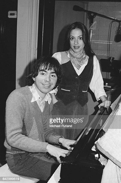 American actress and singer Patti LuPone in a studio with composer Andrew Lloyd Webber to work on the original Broadway cast recording of 'Evita' 3rd...