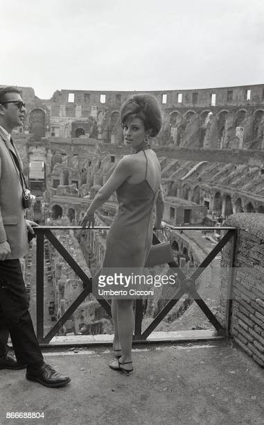 American actress and singer Raquel Welch visiting the Colosseum Rome 1966