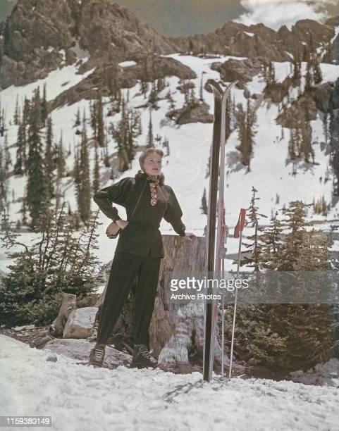 American actress and singer Rhonda Fleming on skis circa 1955