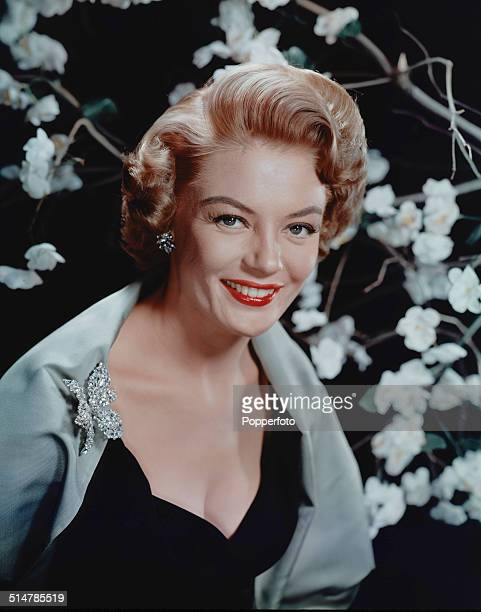 American actress and singer Sheree North posed wearing a black dress and silver coloured stole with a rhinestone butterfly brooch in 1958