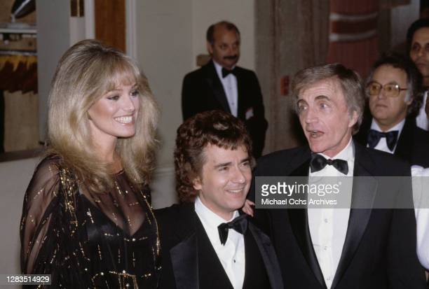 American actress and singer Susan Anton, British actor, comedian and pianist Dudley Moore , and American film director Blake Edwards attend the 40th...