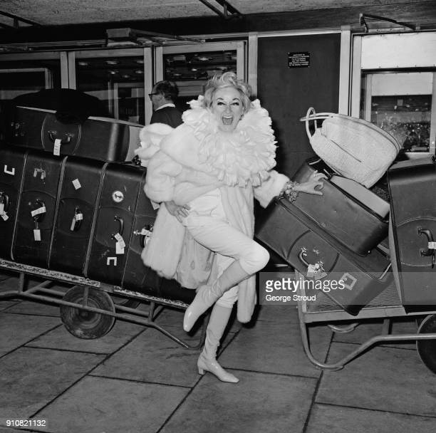 American actress and standup comedienne Phyllis Diller at Heathrow Airport London UK 16th January 1968