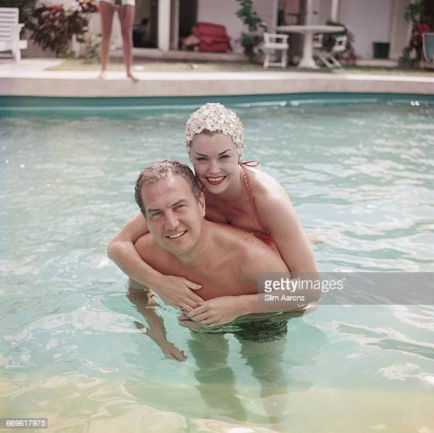 American actress and swimmer Esther Williams with a friend at The Lighthouse Club Andros Island Bahamas 1958