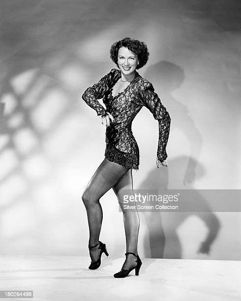 American actress and tap dancer Eleanor Powell in a black lace top circa 1940