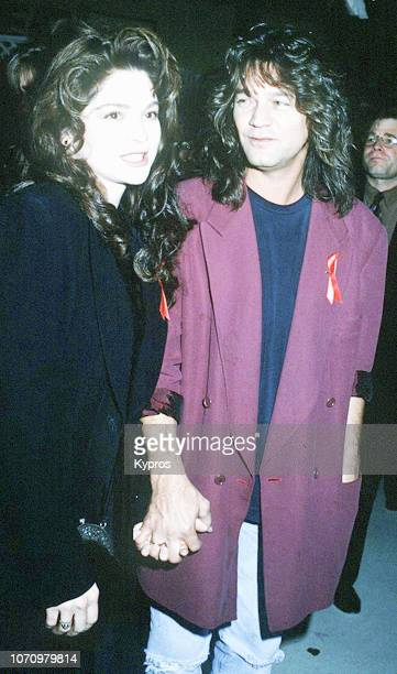 American actress and television personality Valerie Bertinelli and DutchAmerican musician songwriter and producer Eddie Van Halen attend the APLA 6th...