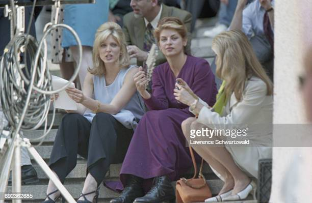 American actress and TV presenter Marla Maples with actress Kirstie Alley, on the set of Bryan Spicer's comedy film, 'For Richer Or Poorer', New York...