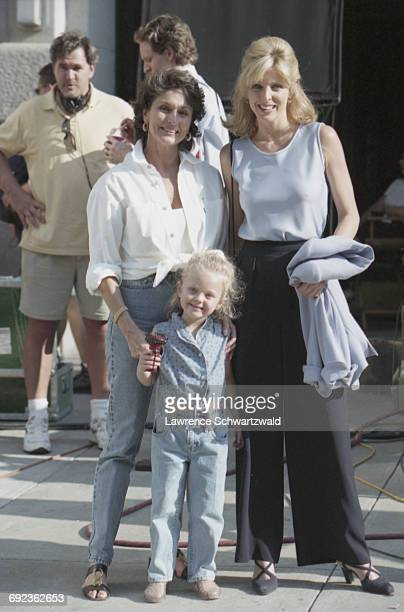 American actress and TV presenter Marla Maples with her mother Laura Ann Locklear and daughter Tiffany Trump on the set of Bryan Spicer's comedy film...