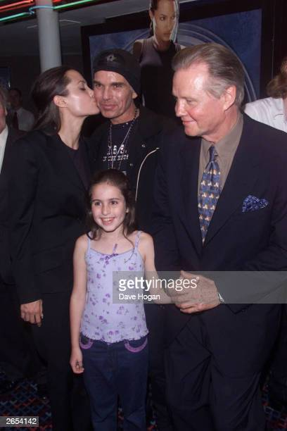 American actress Angelina Jolie American actors Billy Bob Thornton and Jon Voight attend the UK premiere of the film 'Tomb Raider' on May 27 2001 in...