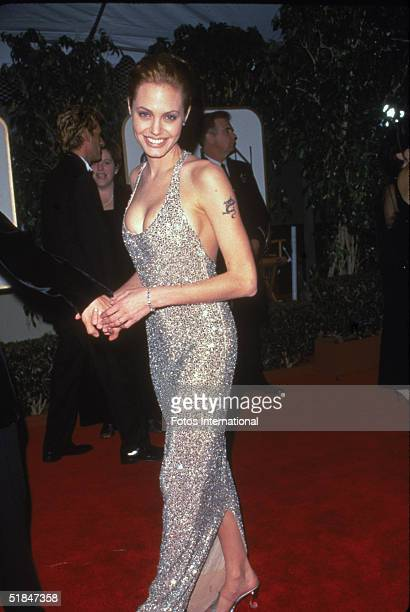American actress Angelina Jolie at the 56th Annual Golden Globe Awards where she won the award for Best Performance by an Actress in a MiniSeries or...