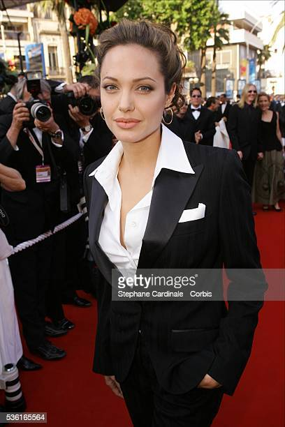 American actress Angelina Jolie attends the premiere of Andrew Adamson Kelly Asbury and Conrad Vernon's animation movie Shrek 2 in competition at the...