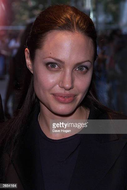 American actress Angelina Jolie attends the UK premiere of the film 'Tomb Raider' on May 27 2001 in London