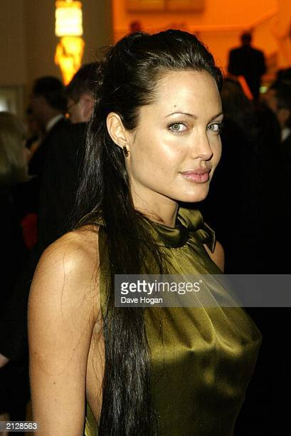 American actress Angelina Jolie heroine Lara Croft in the 'Tomb Raider' movies attends the Orange 2003 British Academy Film Awards at the Odeon...