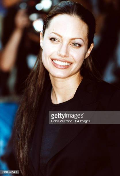 American actress Angelina Jolie outside the Empire Cinema in London's Leicester Square where her latest film 'Tomb Raider' received its premiere