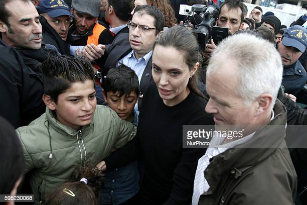 American actress Angelina Jolie the Special Envoy to the UN High Commissioner for Refugees visited refugees and migrants at Piraeus port near Athens...