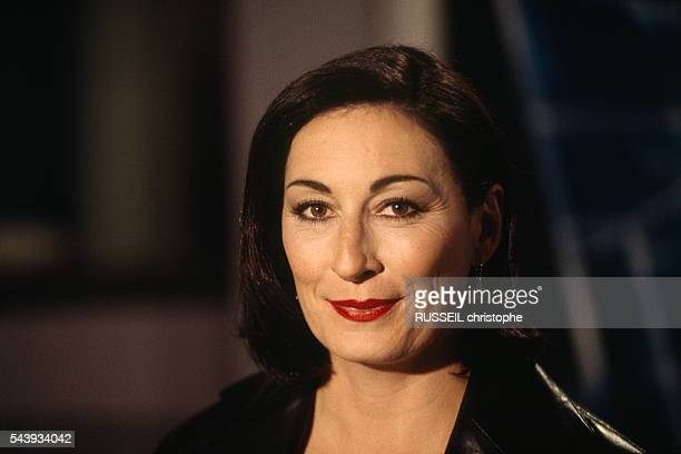 American actress Anjelica Huston on the set of the evening news for French television channel TF1