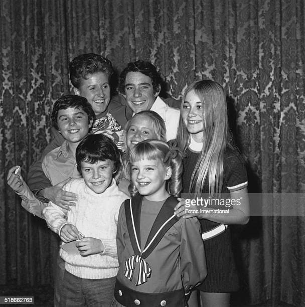 American actress Ann B Davis with the child members of the cast of the US TV sitcom 'The Brady Bunch' 1970 Susan Olsen is at centre and the others...