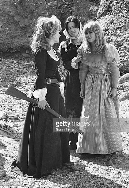 American actress Ann Baxter and German actress Christa Linder in a scene from the film 'Las siete magnificas' Turegano Segovia Spain 1965