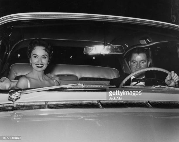American actress Ann Blyth and her husband obstetrician Dr James McNulty arrive at the Academy of Motion Picture Arts and Sciences in Beverly Hills...