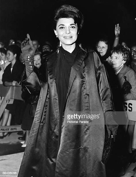 American actress Anne Bancroft arrives at the charity preview for her film 'The Miracle Worker' which was adapted from the stage production about the...