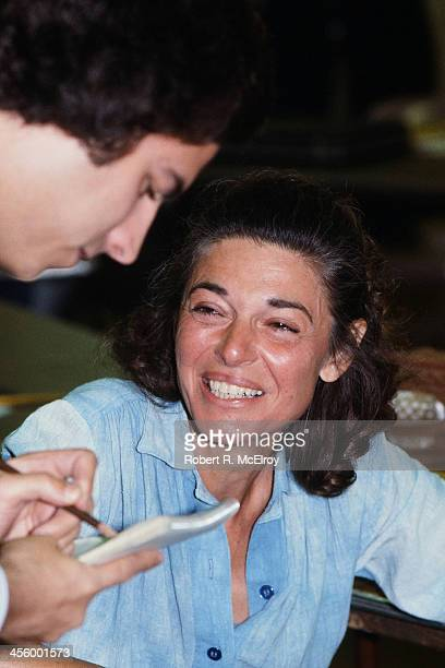 American actress Anne Bancroft on the set of the play 'Golda' New York New York 1977