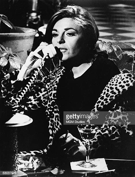 American actress Anne Bancroft wears a leopard print coat as she talks on the phone drinks and smokes in character as the seductive older woman Mrs...