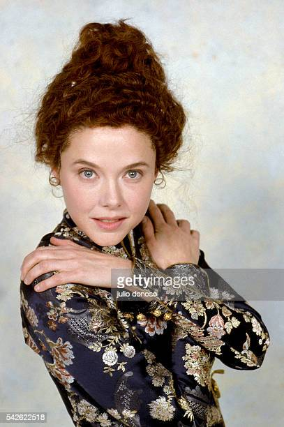 American actress Annette Bening wears her costume from the 1989 film Valmont Czechoslovakian director Milos Forman based the movie on the 1782 novel...