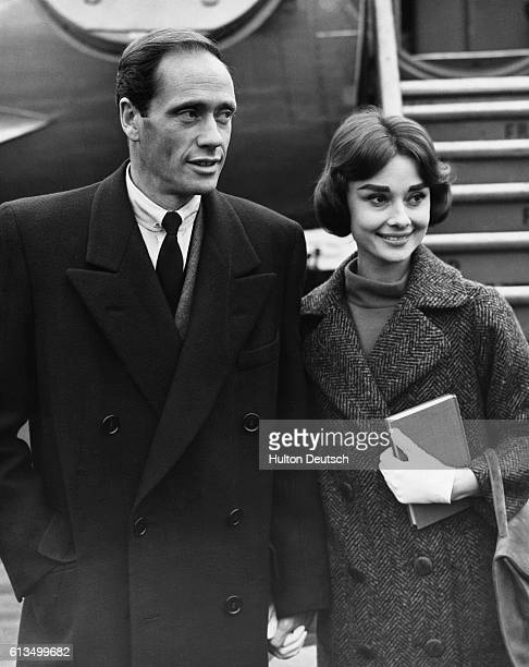 American actress Audrey Hepburn and husband American actor Mel Ferrer at London Airport England 1956