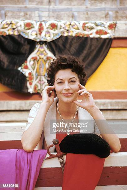 American actress Ava Gardner as Lady Brett Ashley in 'The Sun Also Rises' 1957 She is standing in a bullring with a matador's cape hat and sword