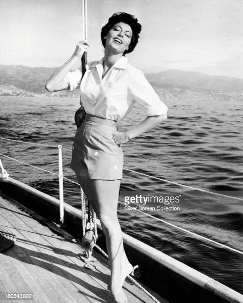 American actress Ava Gardner on board a yacht circa 1955