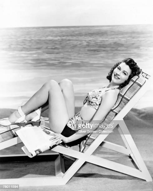 American actress Ava Gardner relaxing in a deckchair circa 1945