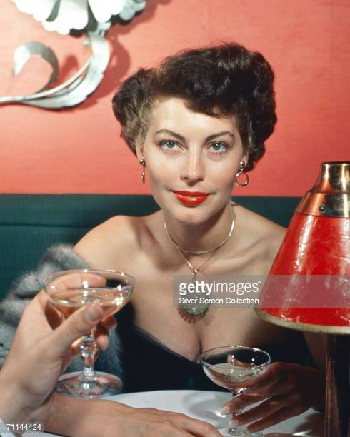 American actress Ava Gardner seen from the point of view of her dining companion circa 1960