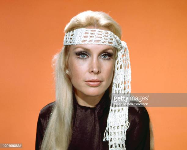 American actress Barbara Eden wearing a crocheted headband circa 1970