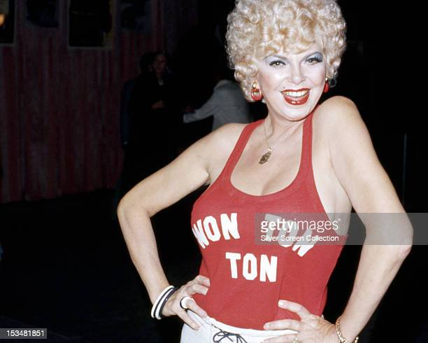 American actress Barbara Nichols wearing a top publicizing her last film Michael Winner's 'Won Ton Ton The Dog Who Saved Hollywood' 1976