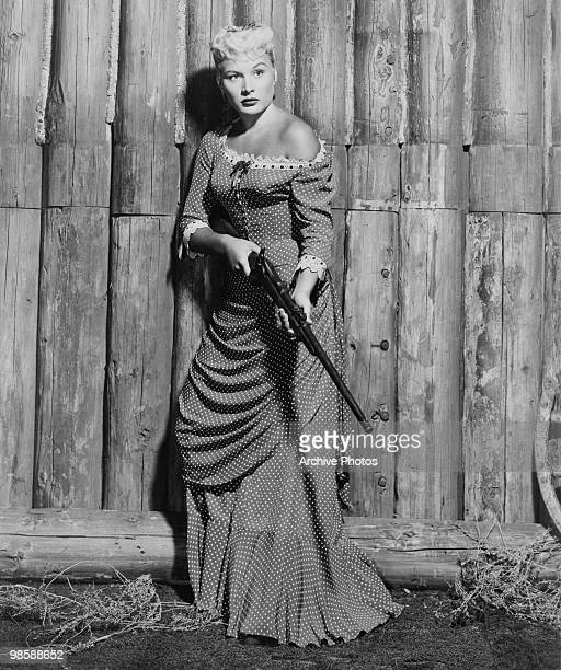 American actress Barbara Payton as Cathy Eversham in the western 'Only the Valiant' 1951